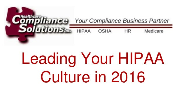 Leading Your HIPAA Culture in 2016