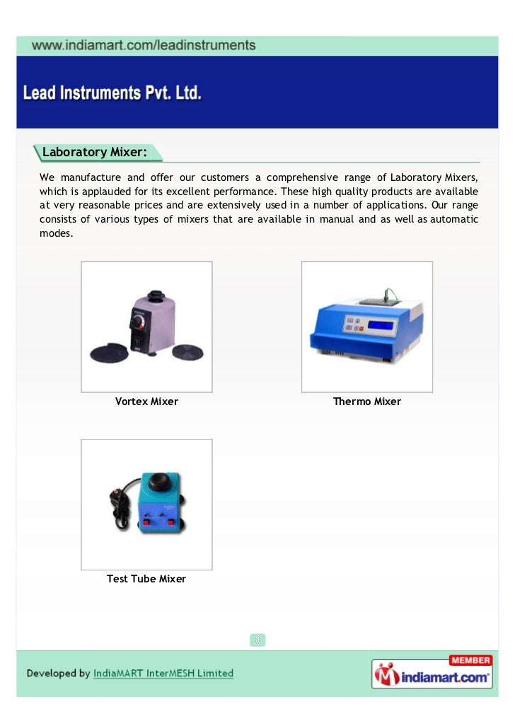 Lead Instruments Private Limited, Bengaluru, Vortex Mixer Slide 3