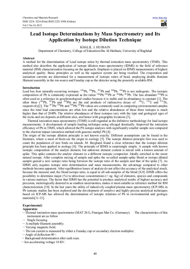 Chemistry and Materials Research ISSN 2224- 3224 (Print) ISSN 2225- 0956 (Online) Vol.3 No.10, 2013  www.iiste.org  Lead I...