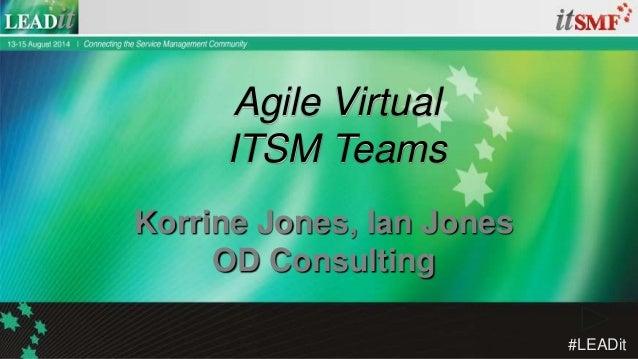 #LEADit Ian Jones, Suncorp Korrine Jones, OD Consulting Virtual Agile ITSM Teams