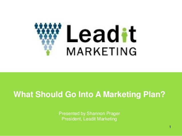 What Should Go Into A Marketing Plan?           Presented by Shannon Prager            President, Leadit Marketing        ...