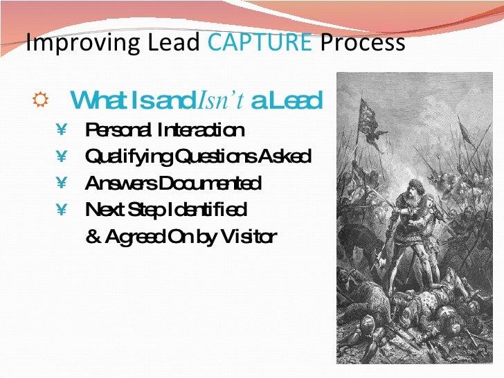 Improving Lead  CAPTURE   Process  <ul><li>What Is and  Isn't  a Lead </li></ul><ul><ul><li>Personal Interaction </li></ul...
