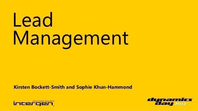 LeadManagementKirsten Bockett-Smith and Sophie Khun-Hammond