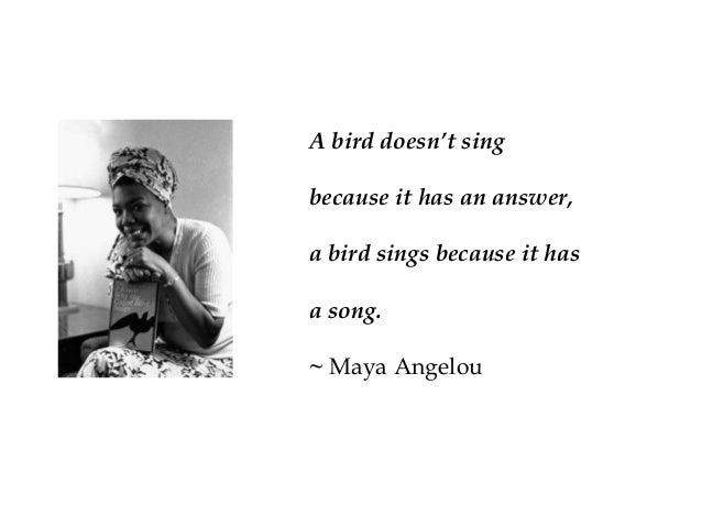 A bird doesn't sing because it has an answer, a bird sings because it has a song. ~ Maya Angelou