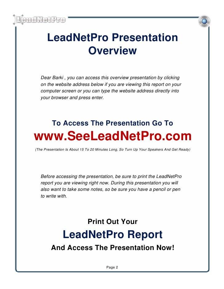 Lead netpro report Slide 2
