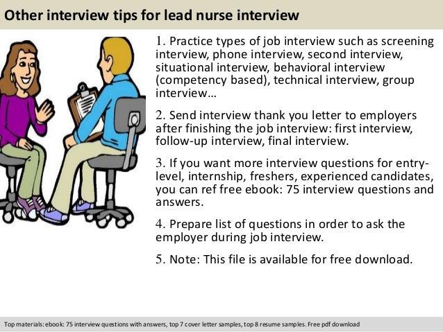 Lead nurse interview questions