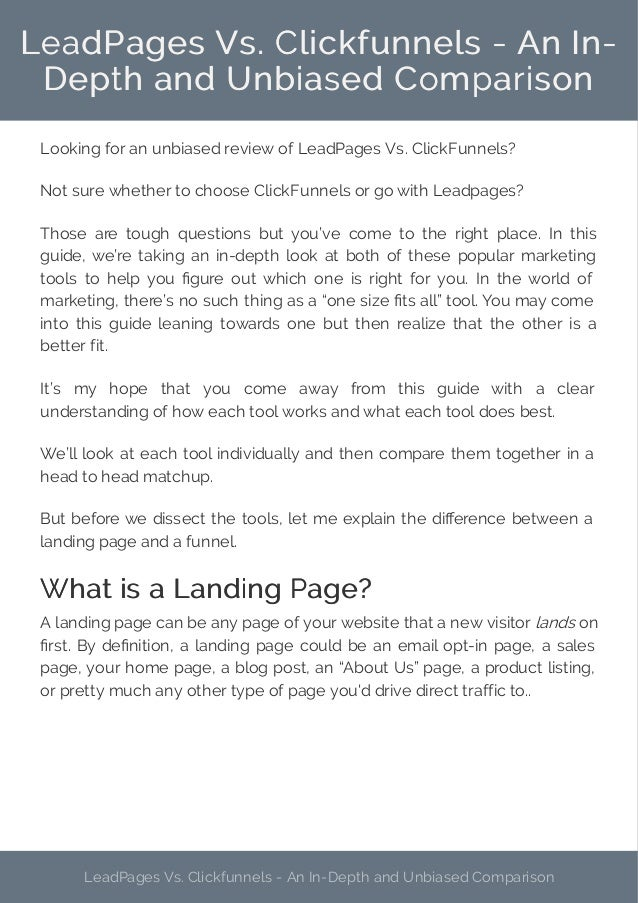 A Biased View of Leadpages Vs Clickfunnels