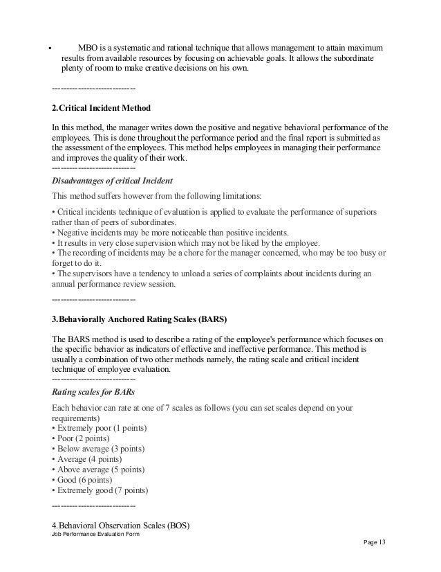 Job Performance Evaluation Form Page 12; 13.  Job Objectives And Goals Examples