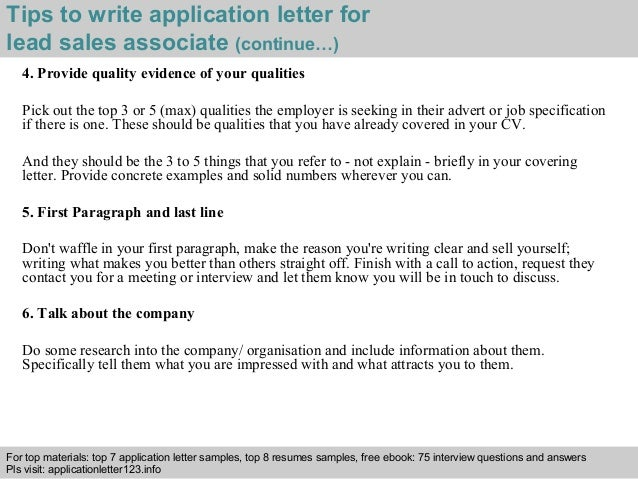 ... 4. Tips To Write Application Letter For Lead Sales Associate ...