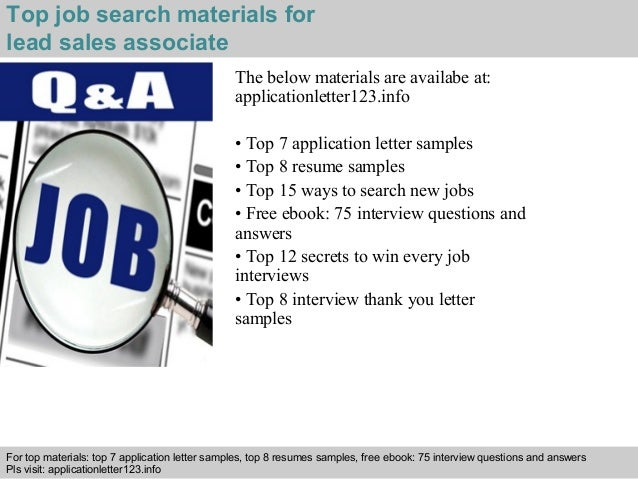 Lead sales associate application letter