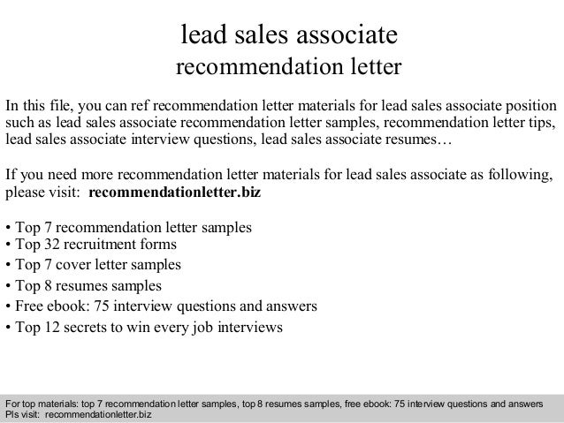 Lead sales associate recommendation letter