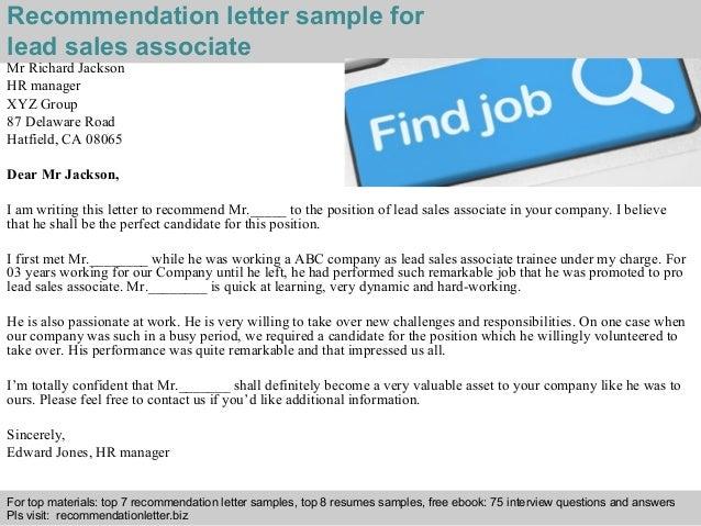 Lead sales associate recommendation letter