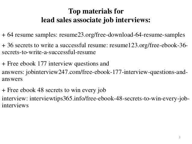 Lead Sales Associate Resume Sample Pdf Ebook Free Download