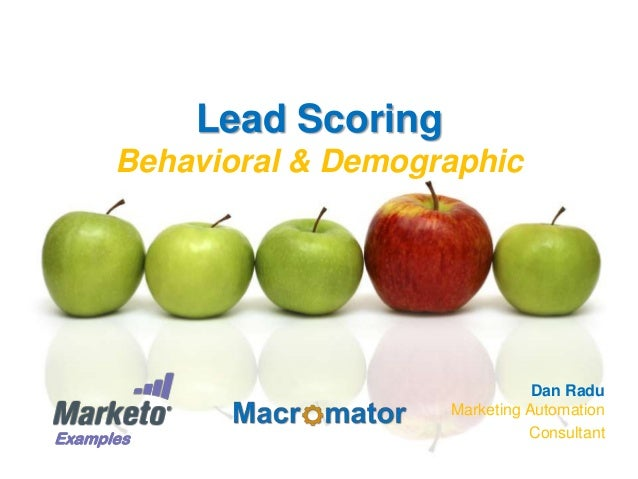 Lead Scoring Behavioral & Demographic  Examples  Dan Radu Marketing Automation Consultant
