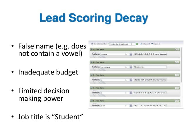 Lead Scoring Decay • False name (e.g. does not contain a vowel) • Inadequate budget • Limited decision making power • Job ...
