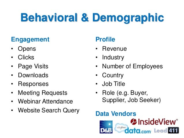 Behavioral & Demographic Engagement • Opens • Clicks • Page Visits • Downloads • Responses • Meeting Requests • Webinar At...