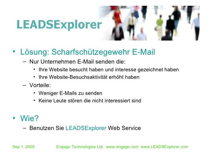 <ul><li>Lösung: Scharfschützegewehr E-Mail </li></ul><ul><ul><li>Nur Unternehmen E-Mail senden die: </li></ul></ul><ul><ul...