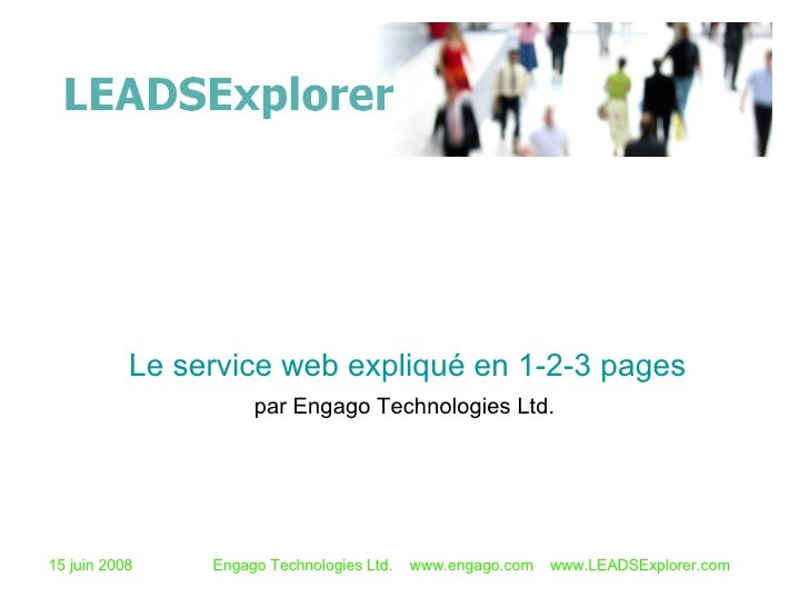 par Engago Technologies Ltd. Le service web expliqué en 1-2-3 pages