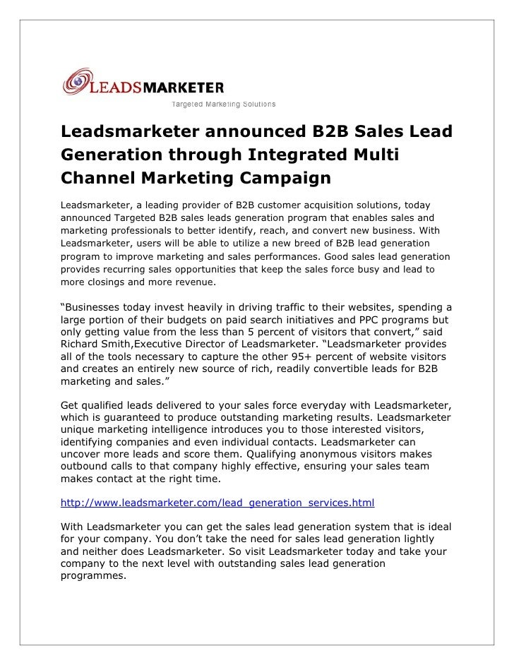 Leadsmarketer announced B2B Sales Lead Generation through Integrated Multi Channel Marketing Campaign Leadsmarketer, a lea...