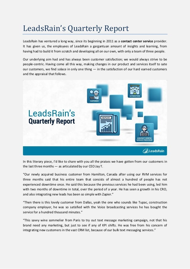 LeadsRain's Quarterly Report LeadsRain has ventured a long way, since its beginning in 2011 as a contact center service pr...