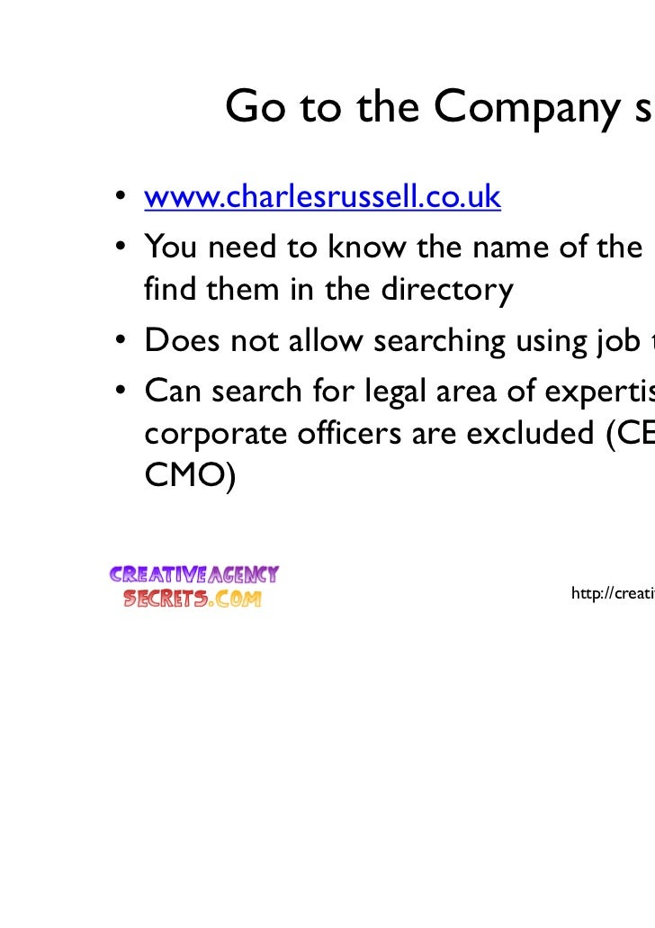 Go to the Company site• www.charlesrussell.co.uk• You need to know the name of the person to  find them in the directory• ...