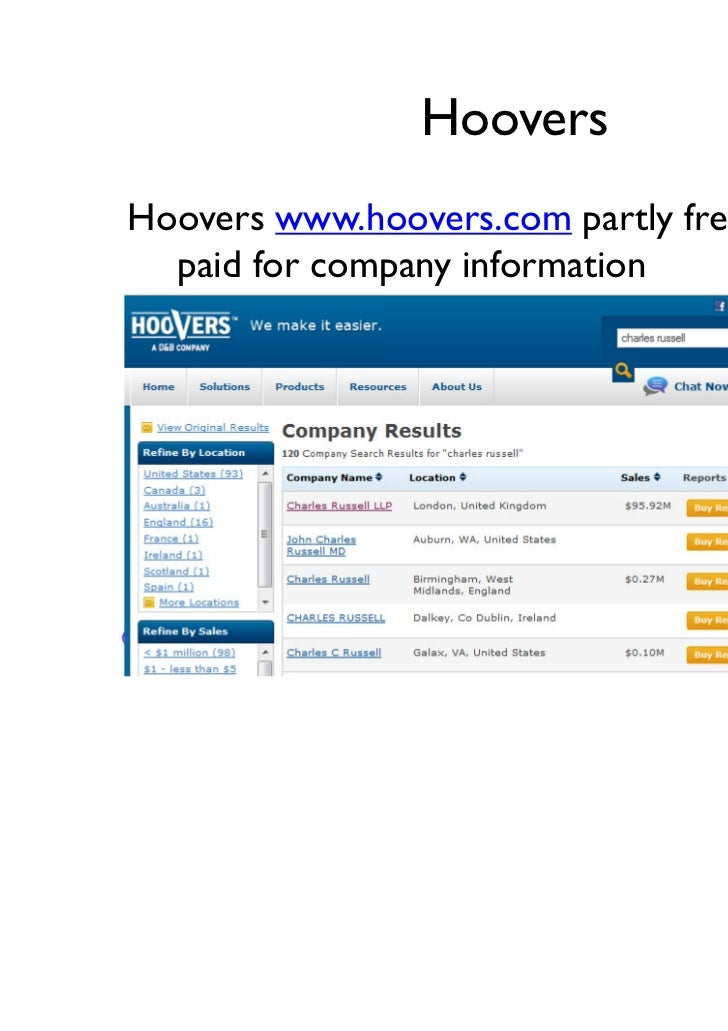 HooversHoovers www.hoovers.com partly free / partly  paid for company information                              http://crea...