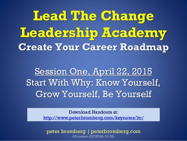 Lead The Change Leadership Academy Create Your Career Roadmap Session One, April 22, 2015 Start With Why: Know Yourself, G...