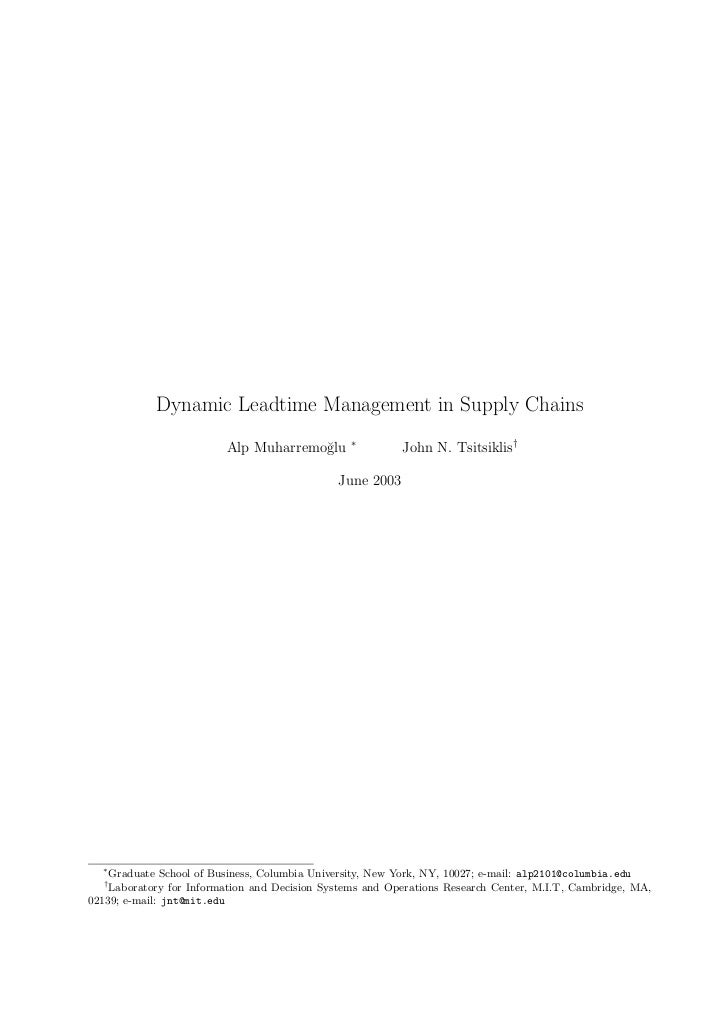 Dynamic Leadtime Management in Supply Chains                                                ∗                         Alp ...