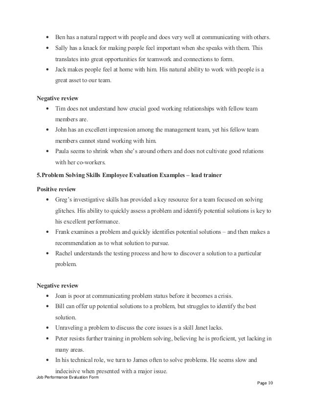 Interpersonal Skills Performance Review Phrases U2013 Lead Trainer Positive  Review Job Performance Evaluation Form Page 9; 10.
