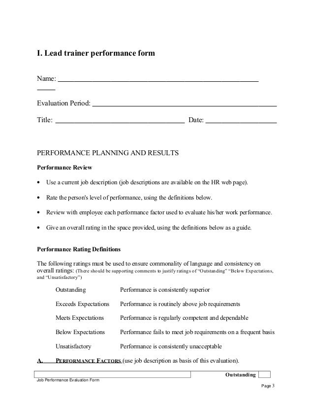 ... Trainer Self Appraisal Job Performance Evaluation Form Page 2; 3.