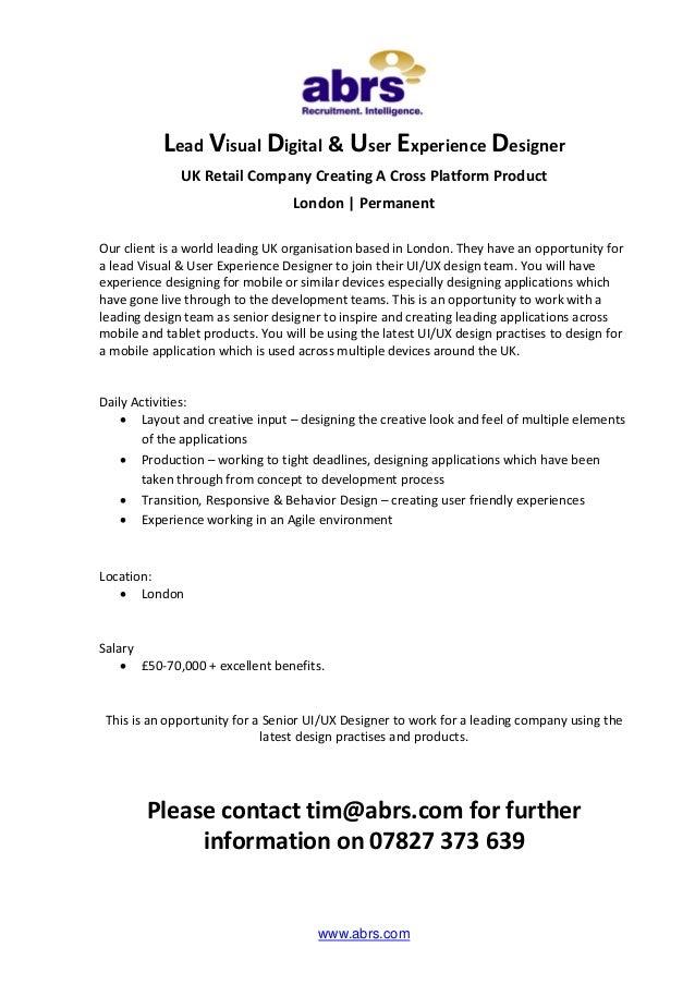 Lead Visual Digital User Experience Designer Job In London See T