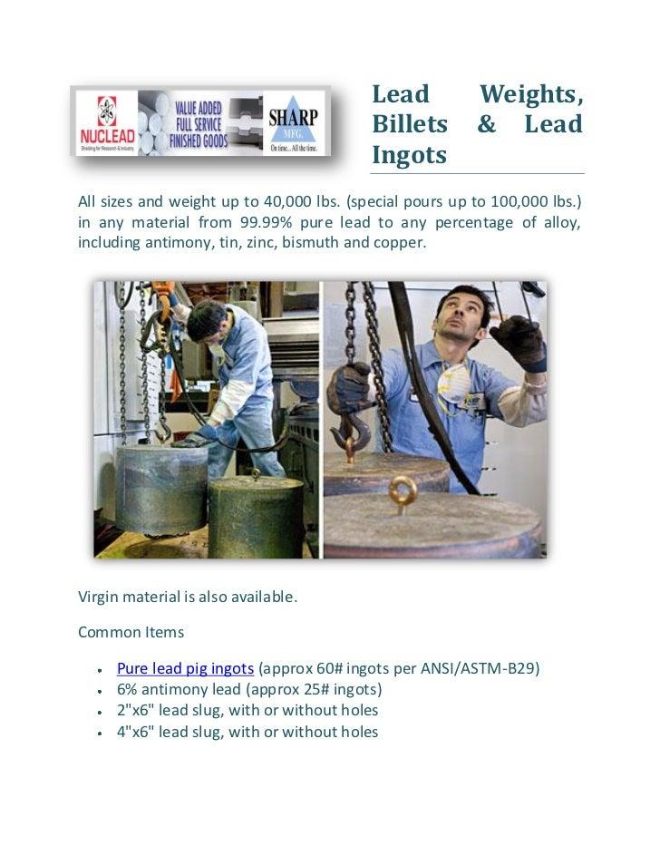 Lead           Weights,                                          Billets        & Lead                                    ...