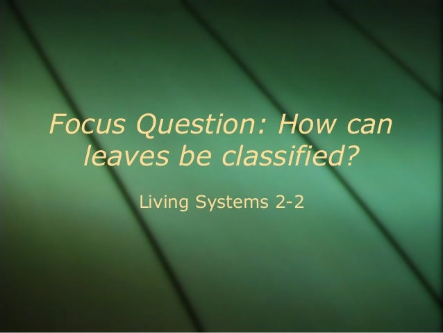 Focus Question: How can leaves be classified? Living Systems 2-2