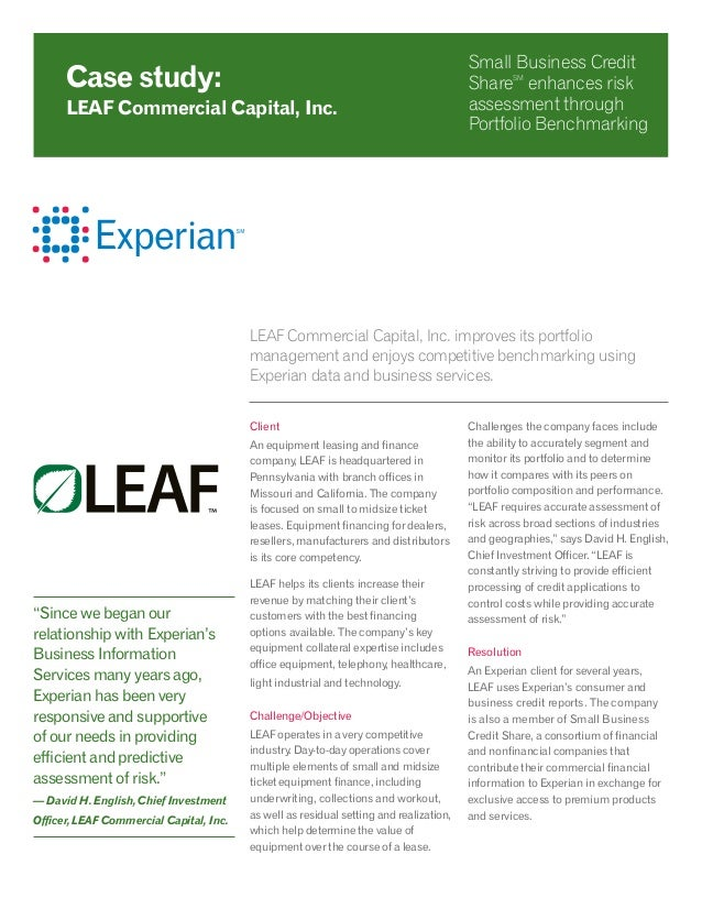 LEAF Commercial Capital, Inc. improves its portfolio management and enjoys competitive benchmarking using Experian data an...