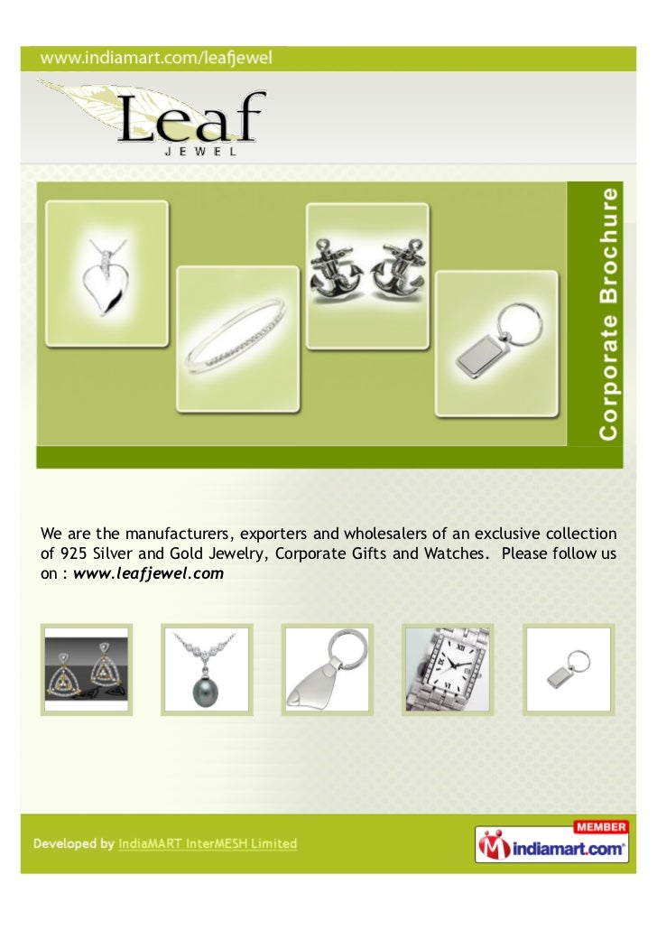 We are the manufacturers, exporters and wholesalers of an exclusive collectionof 925 Silver and Gold Jewelry, Corporate Gi...