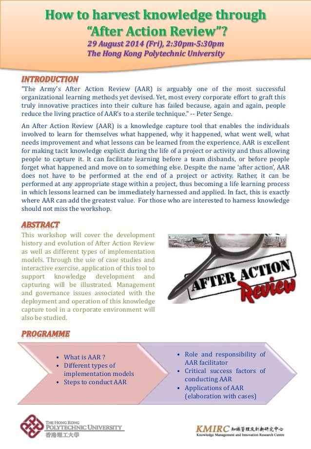 """• What is AAR ? • Different types of implementation models • Steps to conduct AAR How to harvest knowledge through """"After ..."""