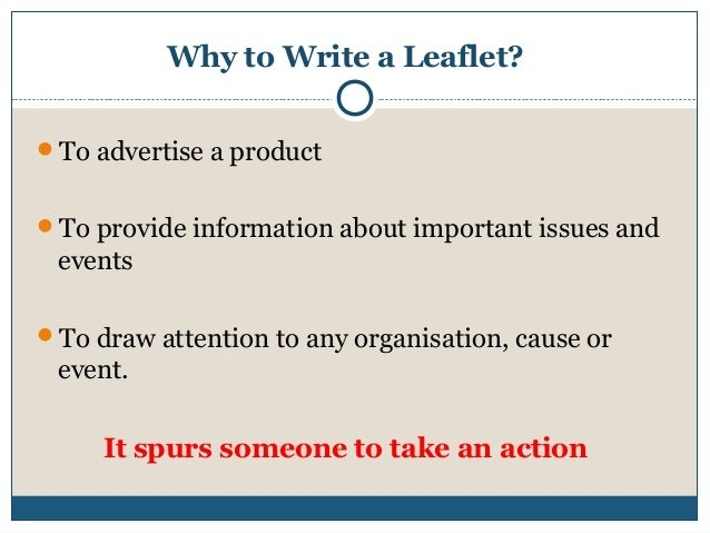 how to write a good leaflet