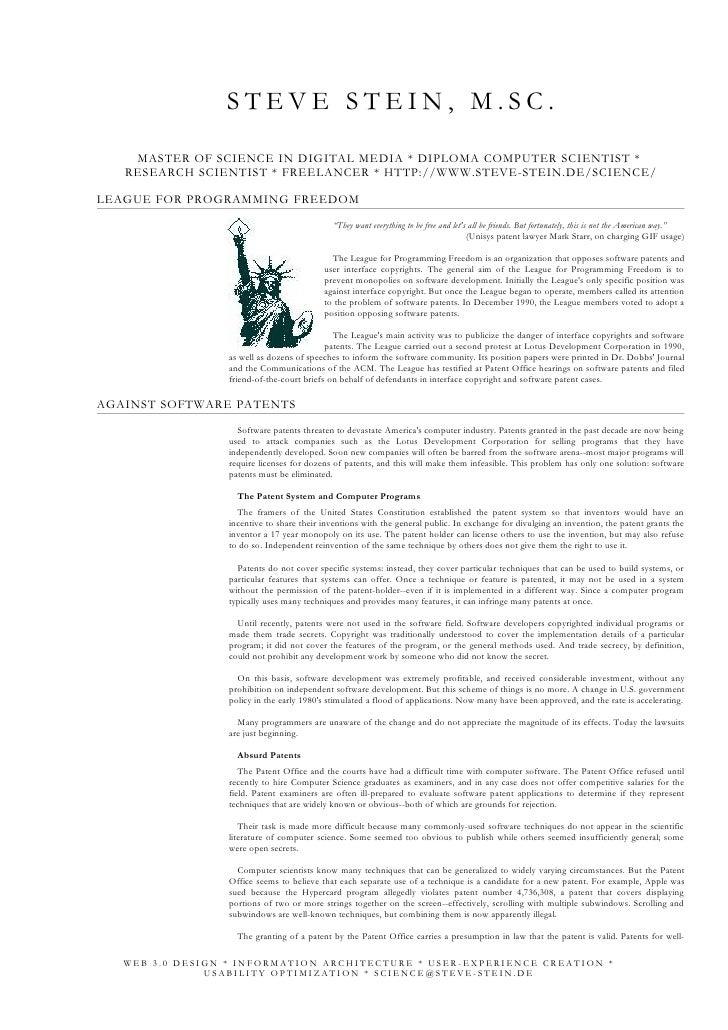 STEVE STEIN, M.SC.     MASTER OF SCIENCE IN DIGITAL MEDIA * DIPLOMA COMPUTER SCIENTIST *    RESEARCH SCIENTIST * FREELANCE...