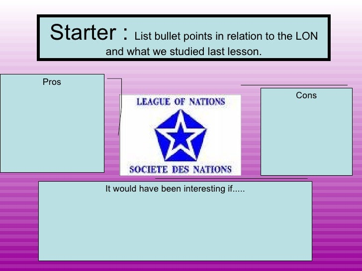 Starter :  List bullet points in relation to the LON and what we studied last lesson. Pros Cons It would have been interes...