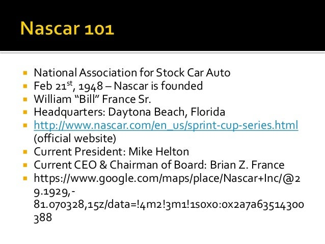  Stock Cars: large,  late model sedans  that have built for  racing. Allows speed  to reach 200 mi/hr.   Stock Car races...
