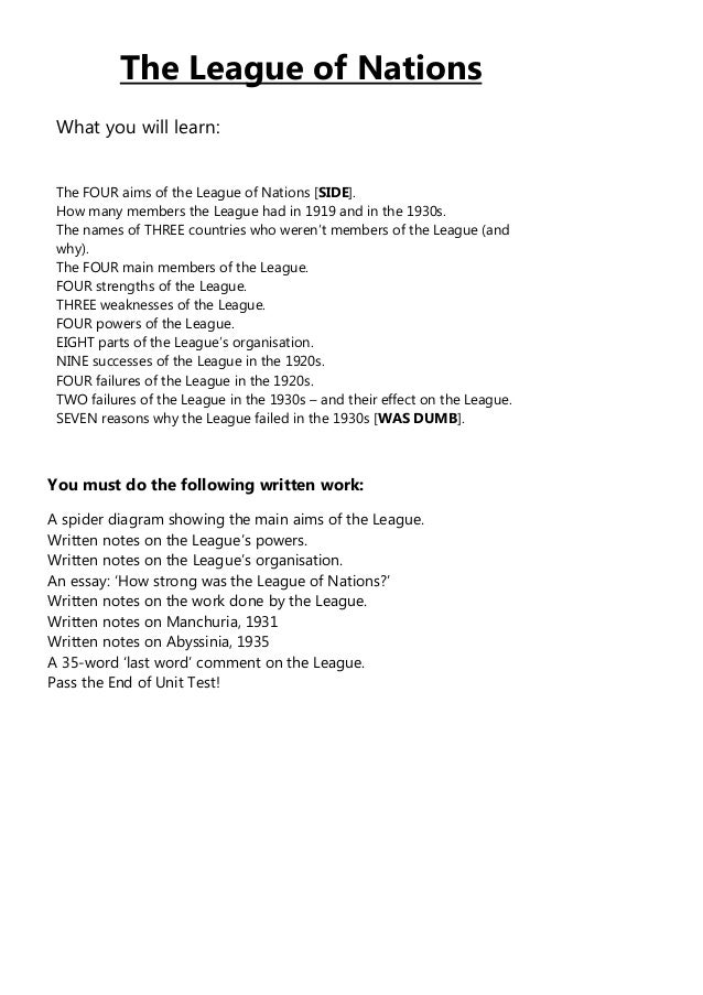 League of nations student booklet the league of nations what you will learn the four aims of the league of ccuart