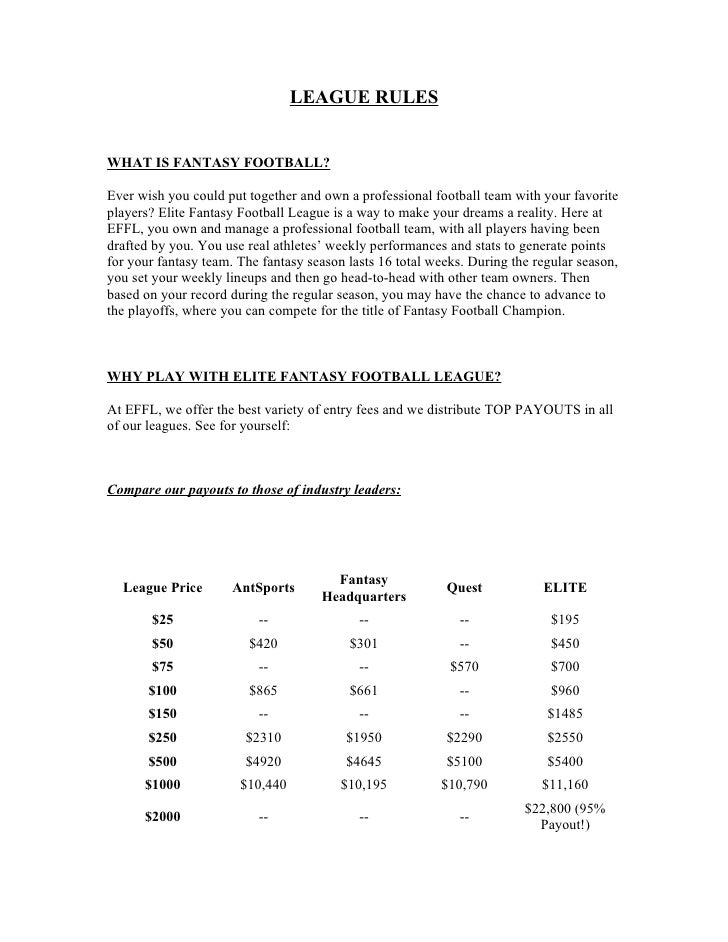 LEAGUE RULES   WHAT IS FANTASY FOOTBALL?  Ever wish you could put together and own a professional football team with your ...