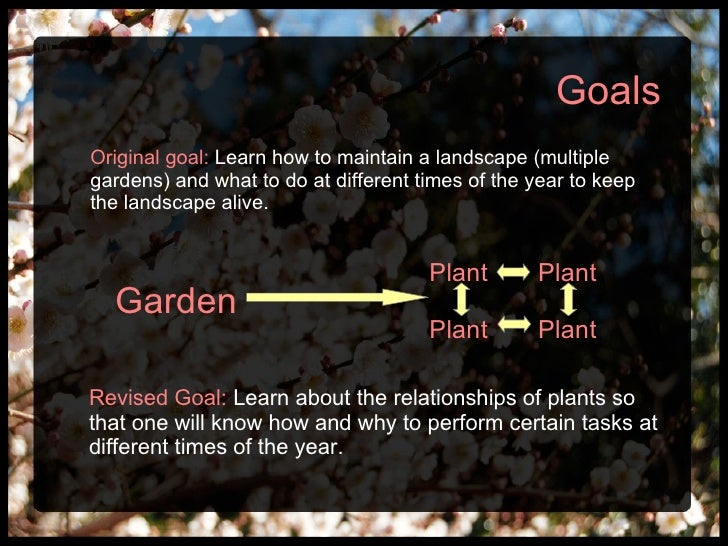 Original goal:   Learn how to maintain a landscape (multiple gardens) and what to do at different times of the year to kee...