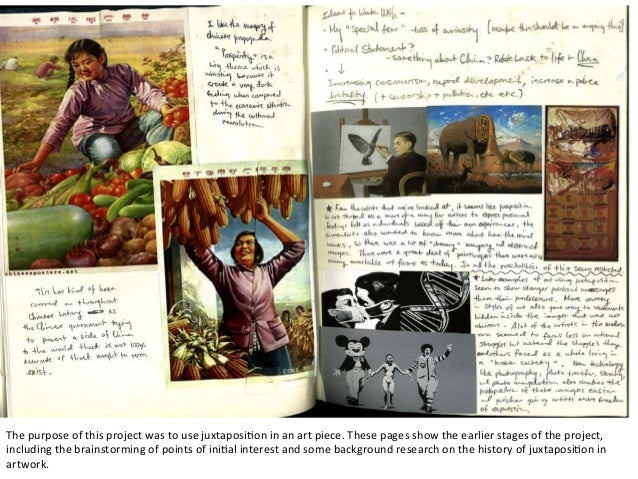 The	   purpose	   of	   this	   project	   was	   to	   use	   juxtaposi2on	   in	   an	   art	   piece.	   These	   pages...