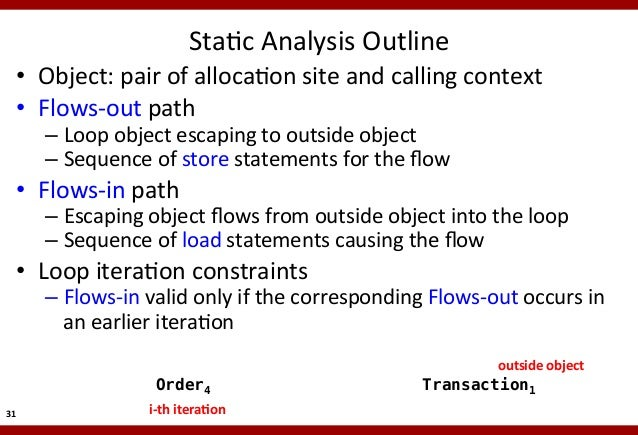 StaMc  Analysis  Outline    • Object:  pair  of  allocaMon  site  and  calling  context   • Flows-...