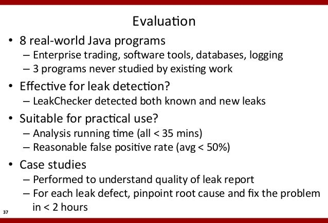 EvaluaMon    • 8  real-‐world  Java  programs    – Enterprise  trading,  so5ware  tools,  databases,...