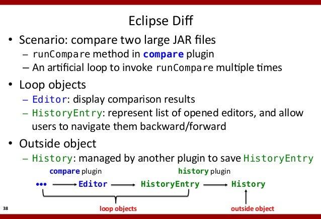 Eclipse  Diff    • Scenario:  compare  two  large  JAR  files    – runCompare  method  in  compare ...