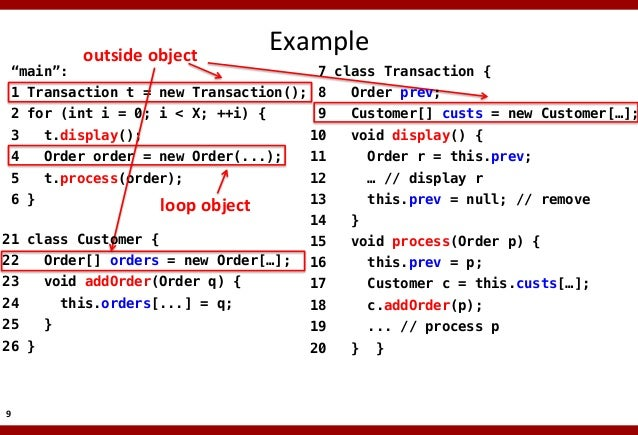 """""""main"""":!  outside  object    Example    7 class Transaction {!  1 Transaction t = new Transaction();! 8  Order prev;..."""