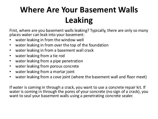 3. Where Are Your Basement Walls Leaking ...  sc 1 st  SlideShare & Leaking Basement Walls