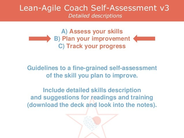 Lean-Agile Coach Self-Assessment v3 Detailed descriptions A) Assess your skills B) Plan your improvement C) Track your pro...